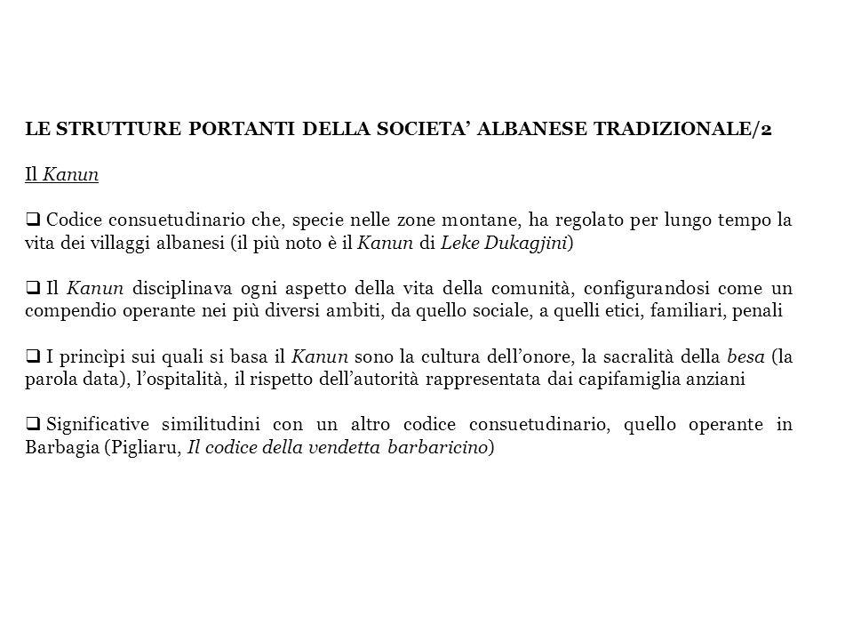 LE STRUTTURE PORTANTI DELLA SOCIETA' ALBANESE TRADIZIONALE/2