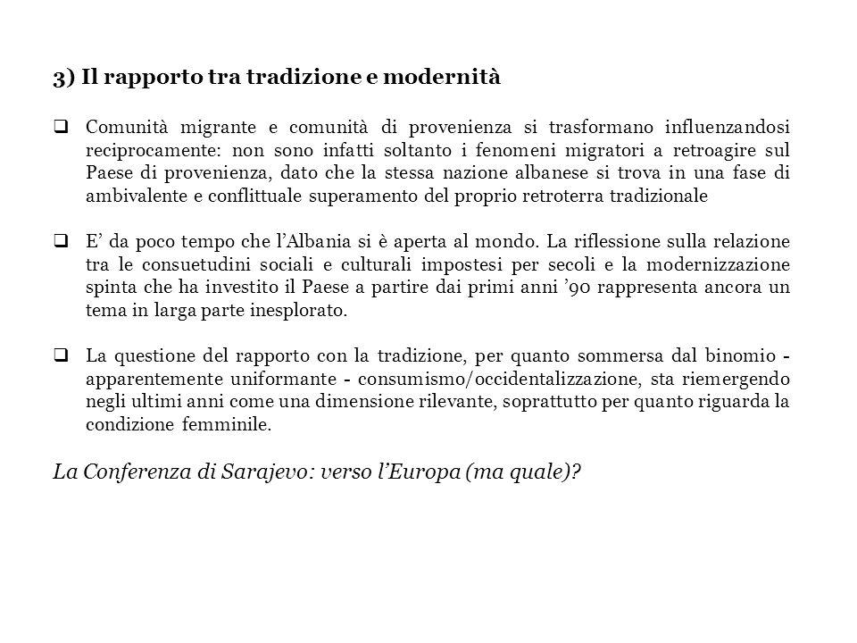 3) Il rapporto tra tradizione e modernità