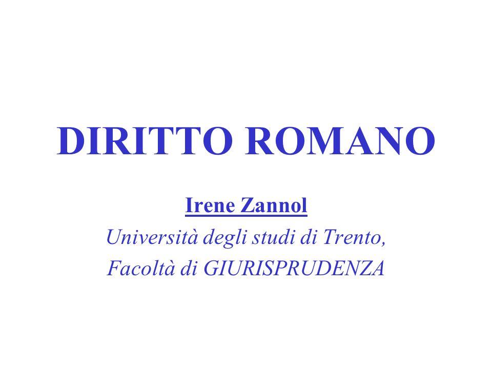 DIRITTO ROMANO Irene Zannol Università degli studi di Trento,