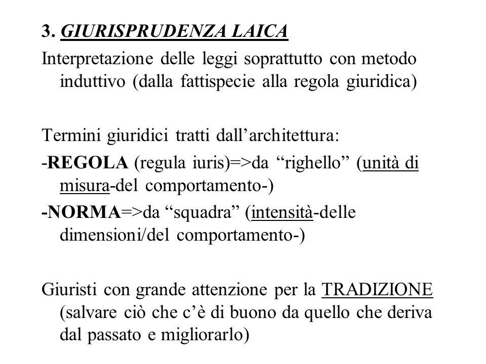 3. GIURISPRUDENZA LAICA Interpretazione delle leggi soprattutto con metodo induttivo (dalla fattispecie alla regola giuridica)