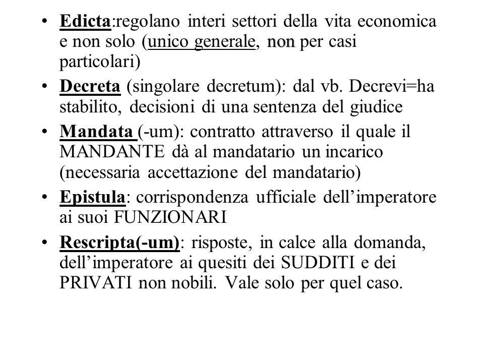 Edicta:regolano interi settori della vita economica e non solo (unico generale, non per casi particolari)