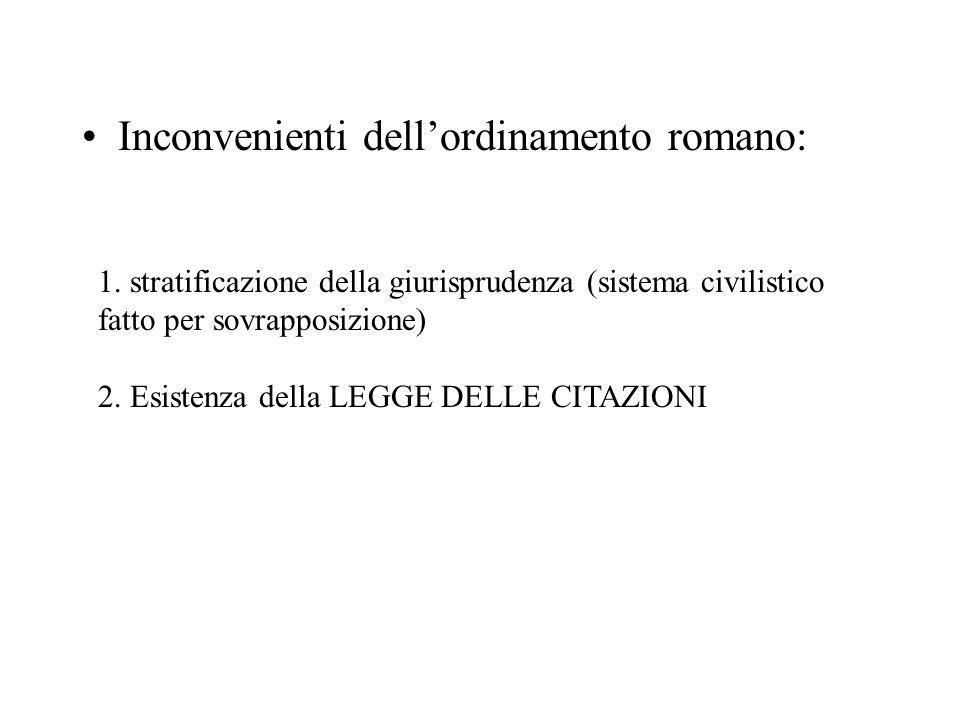 Inconvenienti dell'ordinamento romano: