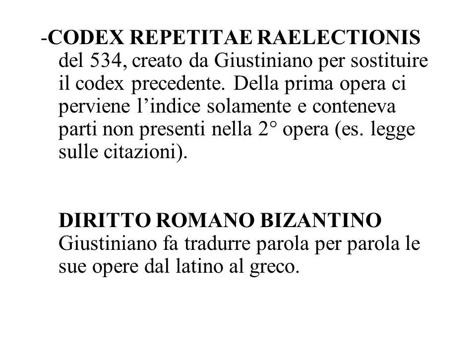 -CODEX REPETITAE RAELECTIONIS del 534, creato da Giustiniano per sostituire il codex precedente.