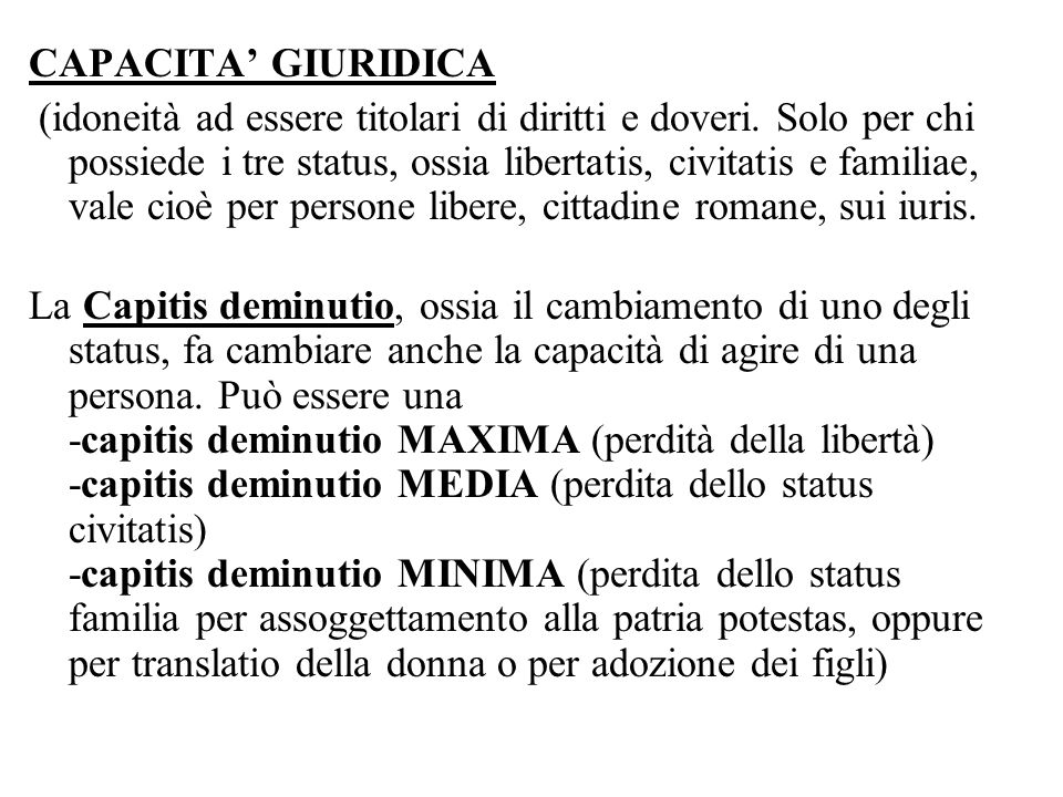 CAPACITA' GIURIDICA
