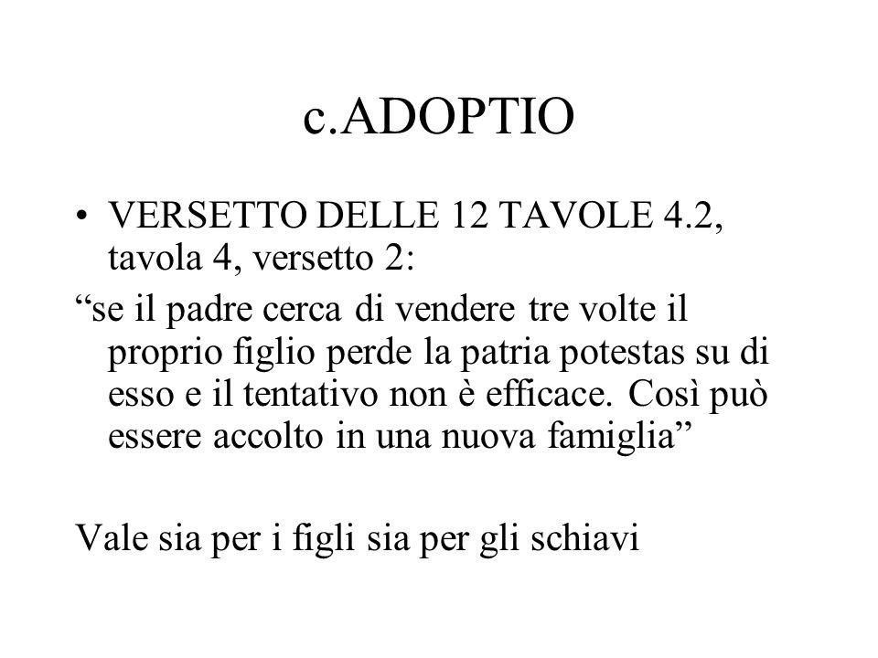 c.ADOPTIO VERSETTO DELLE 12 TAVOLE 4.2, tavola 4, versetto 2: