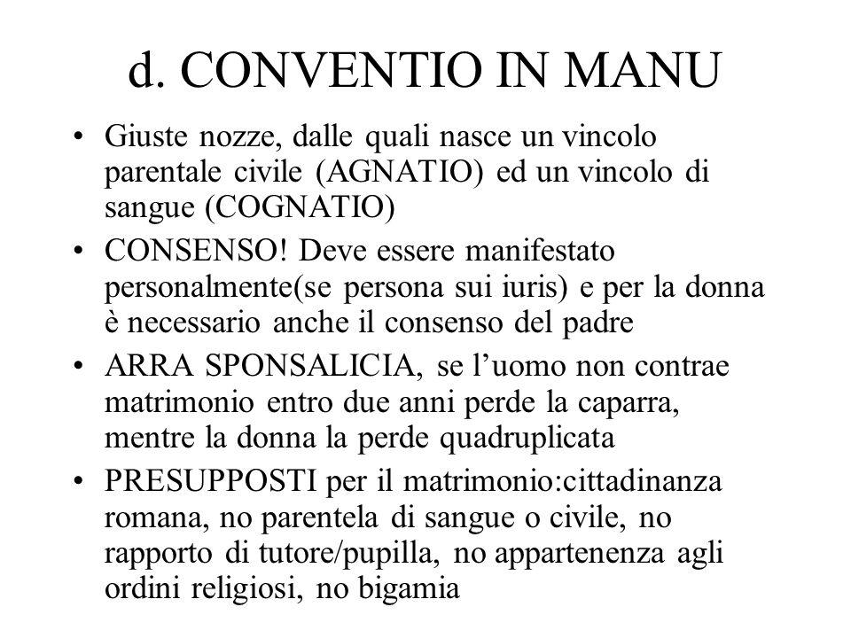 d. CONVENTIO IN MANU Giuste nozze, dalle quali nasce un vincolo parentale civile (AGNATIO) ed un vincolo di sangue (COGNATIO)