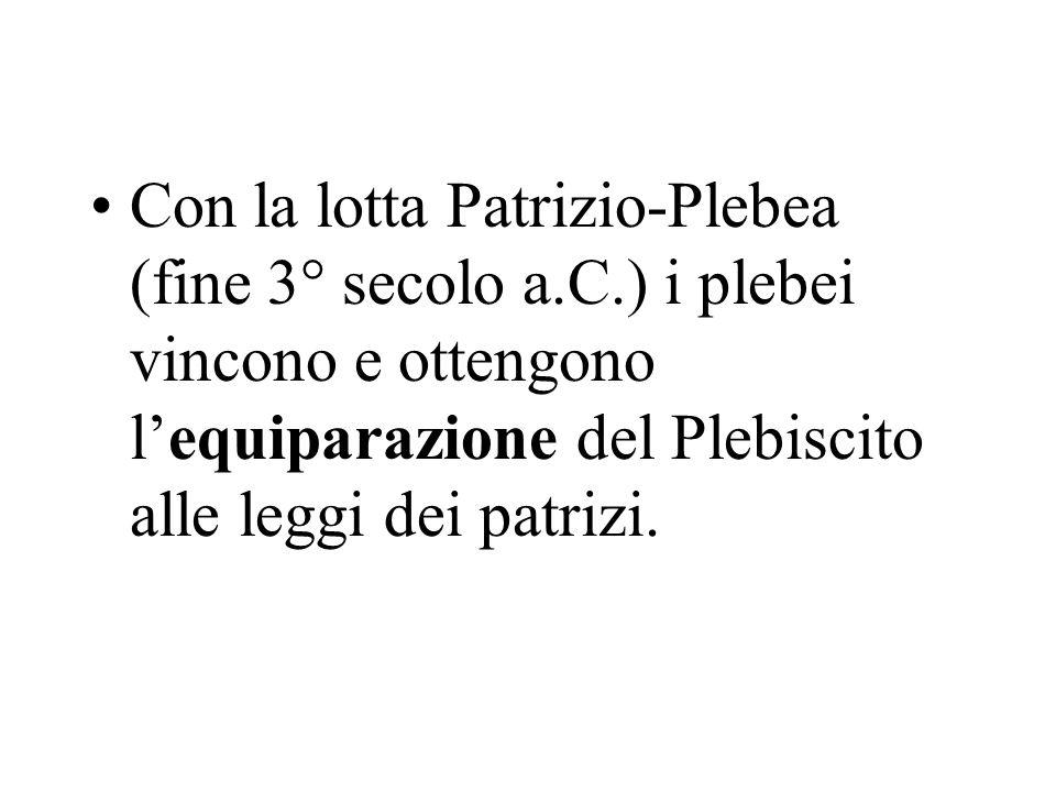 Con la lotta Patrizio-Plebea (fine 3° secolo a. C