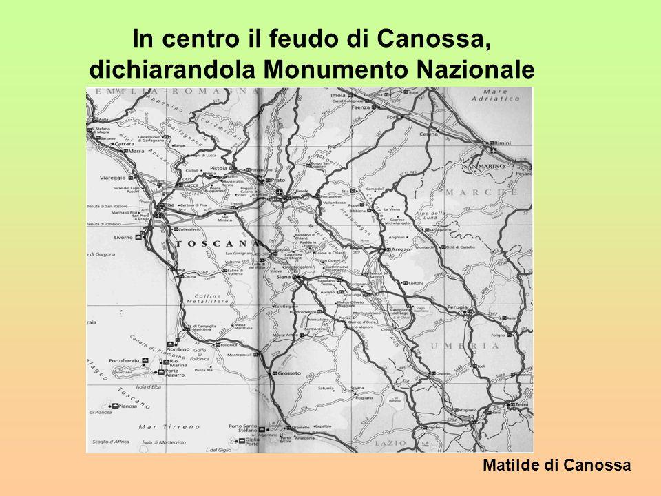 In centro il feudo di Canossa, dichiarandola Monumento Nazionale