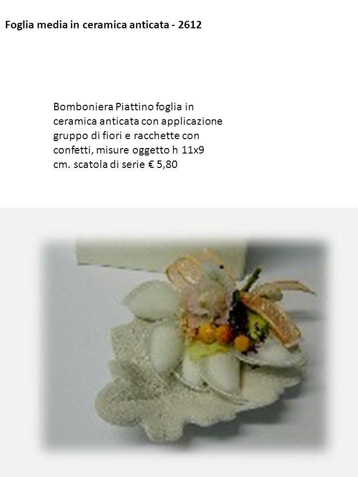 Foglia media in ceramica anticata - 2612