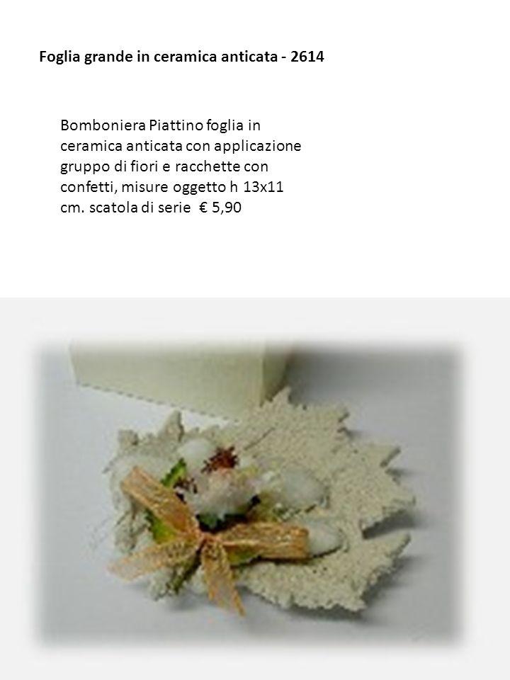Foglia grande in ceramica anticata - 2614