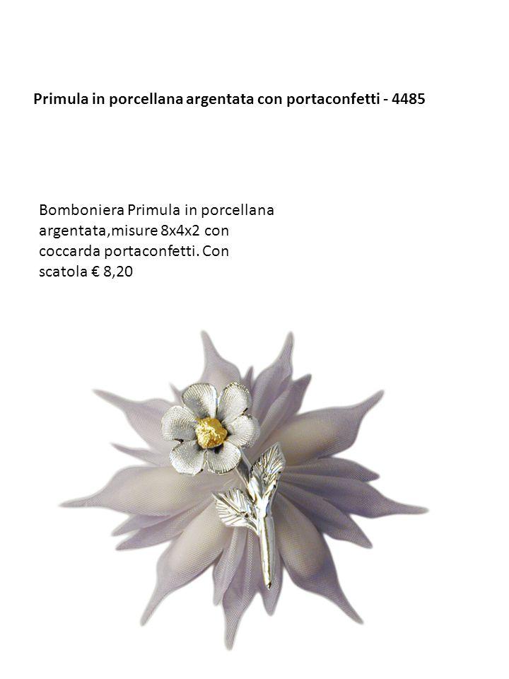 Primula in porcellana argentata con portaconfetti - 4485