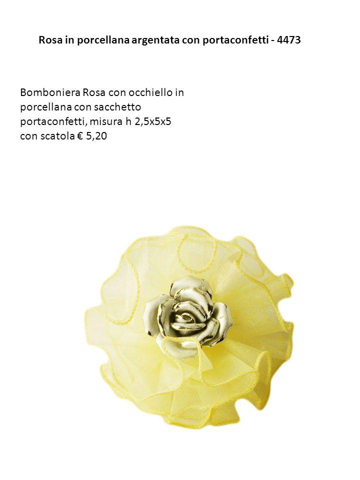 Rosa in porcellana argentata con portaconfetti - 4473