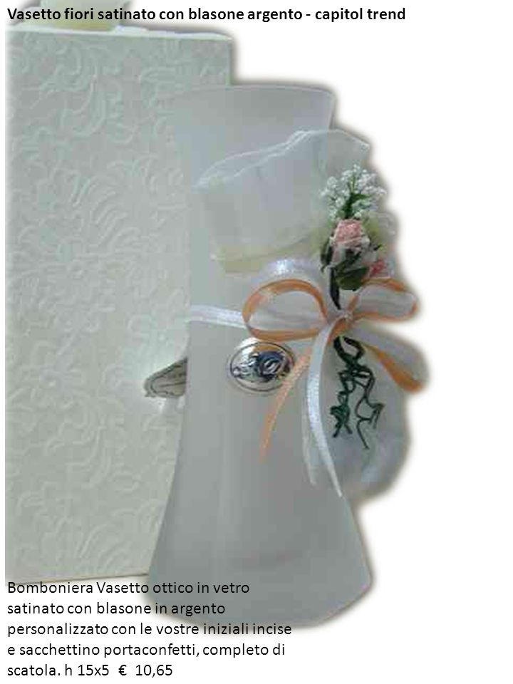 Vasetto fiori satinato con blasone argento - capitol trend