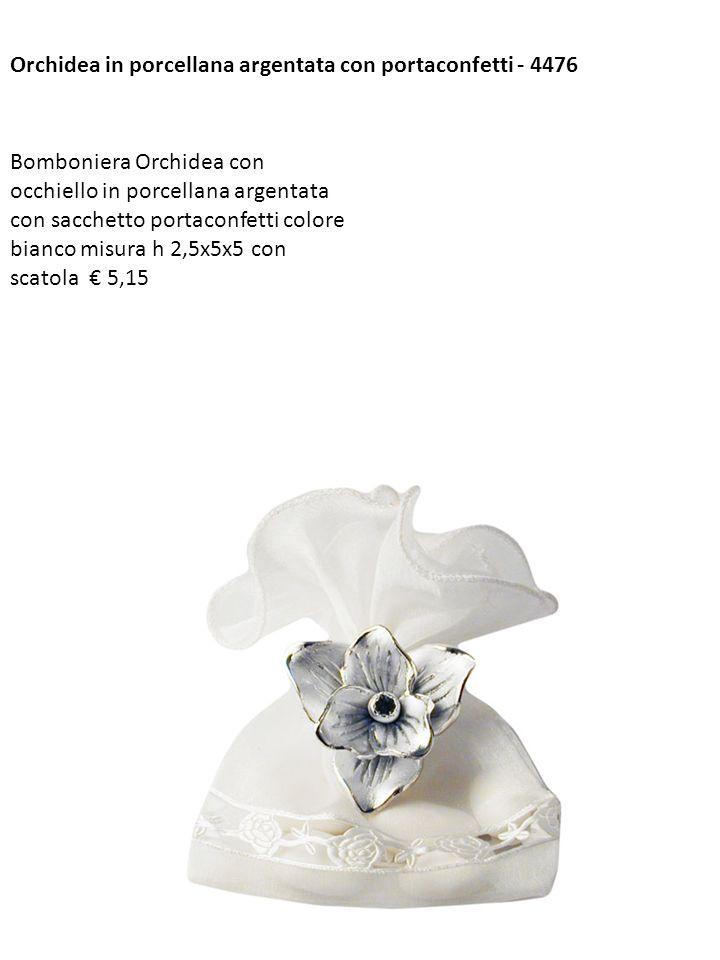 Orchidea in porcellana argentata con portaconfetti - 4476