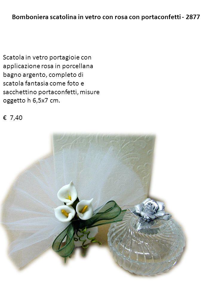 Bomboniera scatolina in vetro con rosa con portaconfetti - 2877