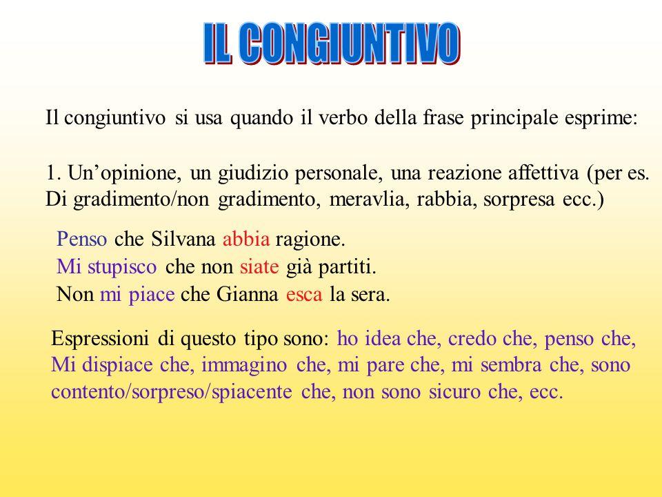 IL CONGIUNTIVO Il congiuntivo si usa quando il verbo della frase principale esprime: