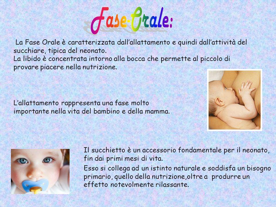 Fase-Orale: La Fase Orale è caratterizzata dall'allattamento e quindi dall'attività del succhiare, tipica del neonato.