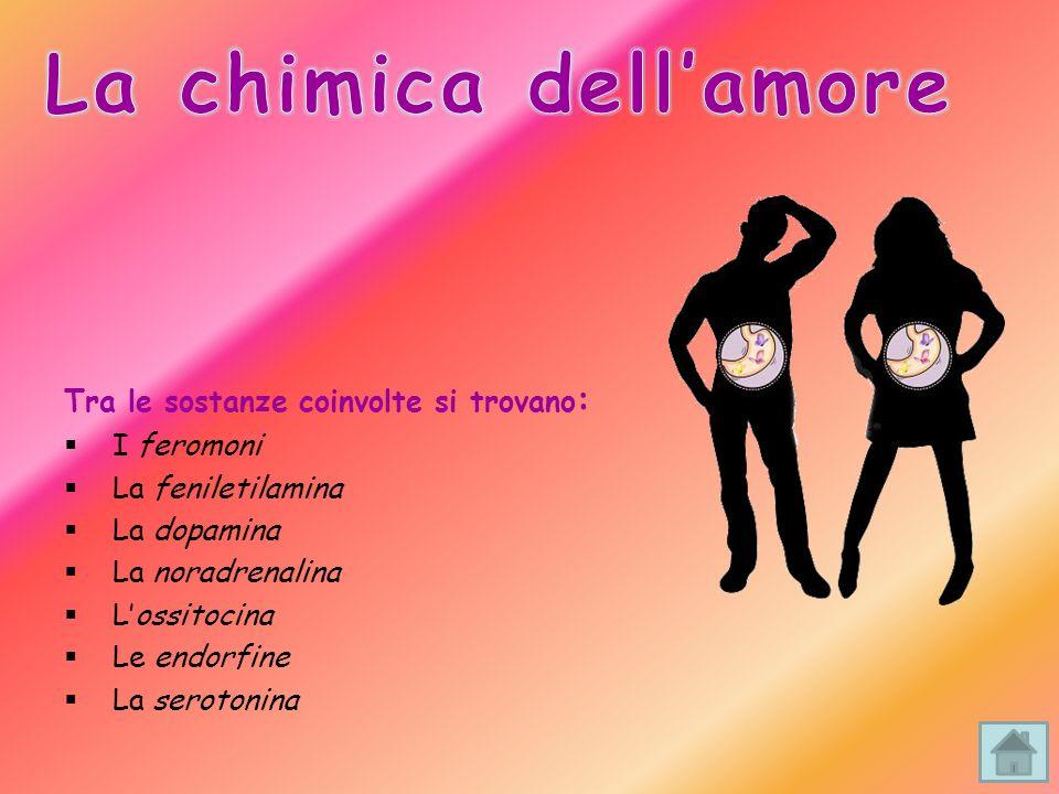 La chimica dell'amore Tra le sostanze coinvolte si trovano: I feromoni