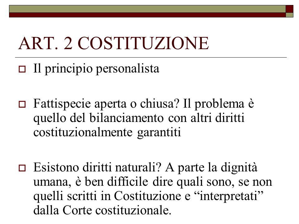 ART. 2 COSTITUZIONE Il principio personalista