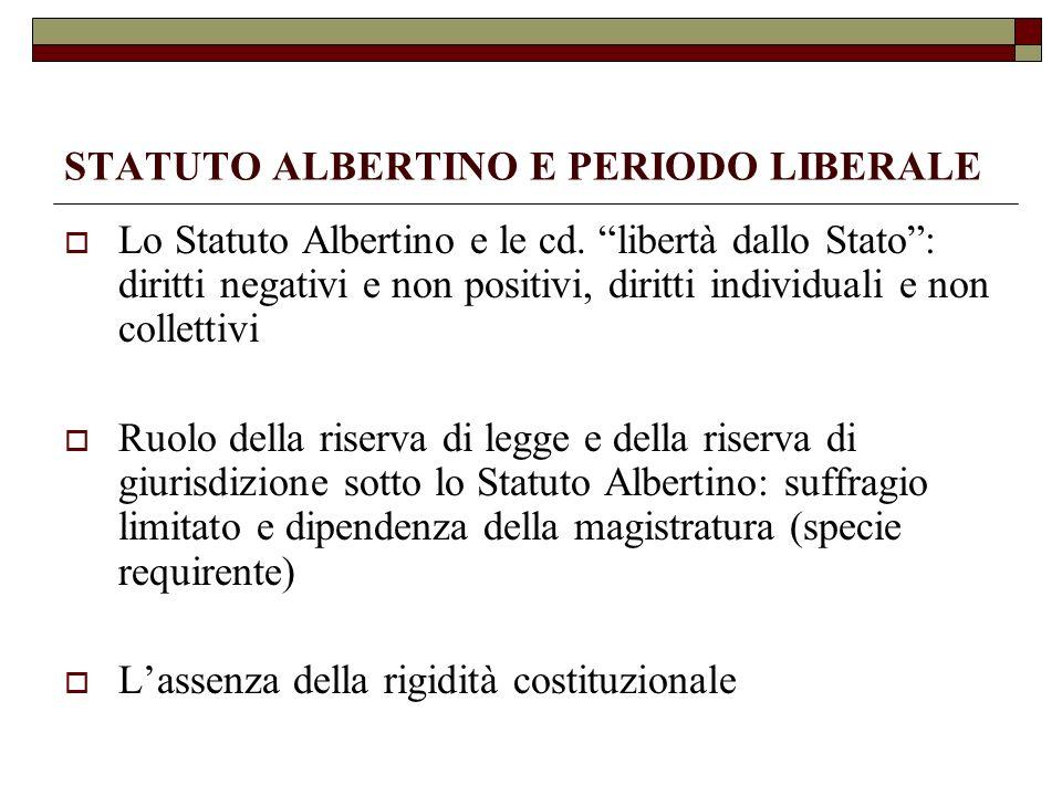 STATUTO ALBERTINO E PERIODO LIBERALE