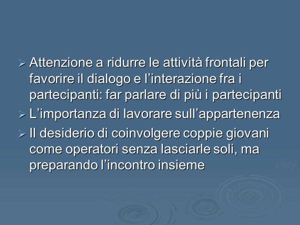 Attenzione a ridurre le attività frontali per favorire il dialogo e l'interazione fra i partecipanti: far parlare di più i partecipanti