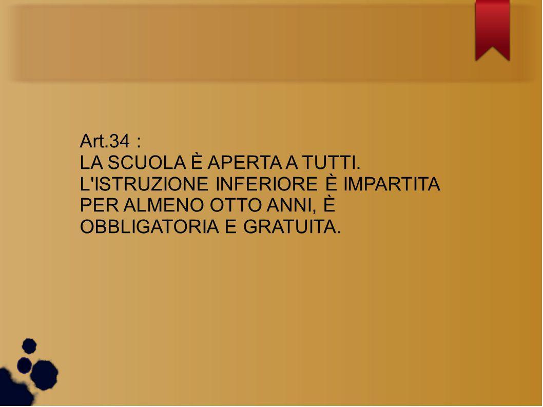 Art.34 : LA SCUOLA È APERTA A TUTTI.