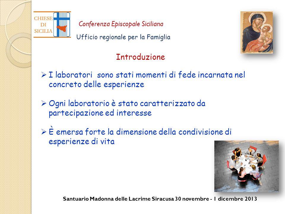Introduzione I laboratori sono stati momenti di fede incarnata nel concreto delle esperienze.
