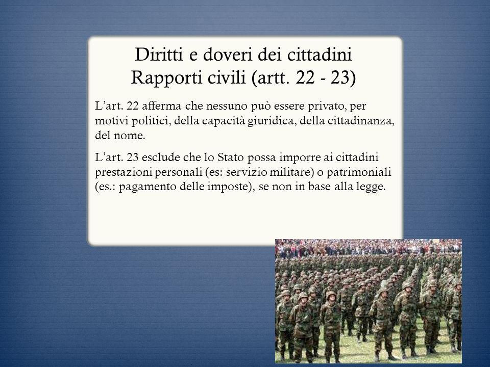 Diritti e doveri dei cittadini Rapporti civili (artt. 22 - 23)