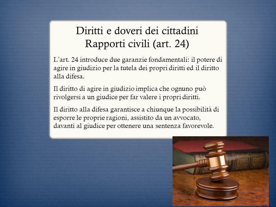 Diritti e doveri dei cittadini Rapporti civili (art. 24)