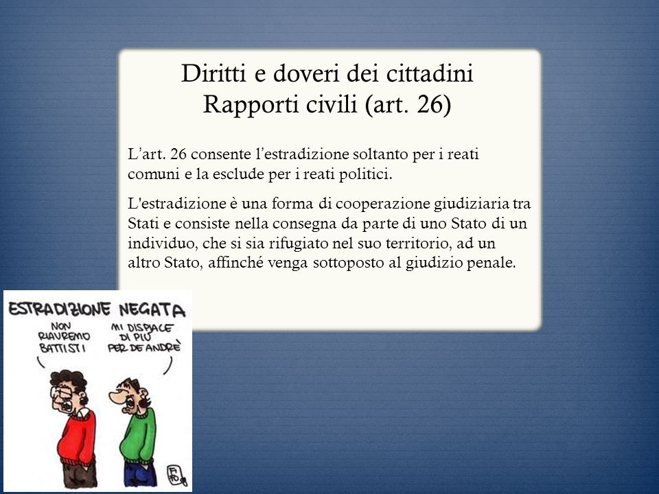 Diritti e doveri dei cittadini Rapporti civili (art. 26)