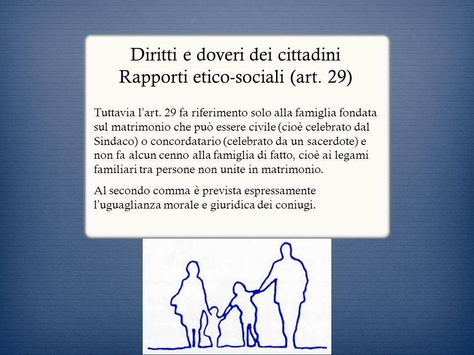 Diritti e doveri dei cittadini Rapporti etico-sociali (art. 29)
