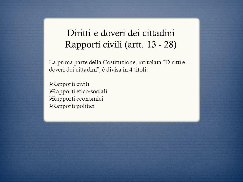 Diritti e doveri dei cittadini Rapporti civili (artt. 13 - 28)
