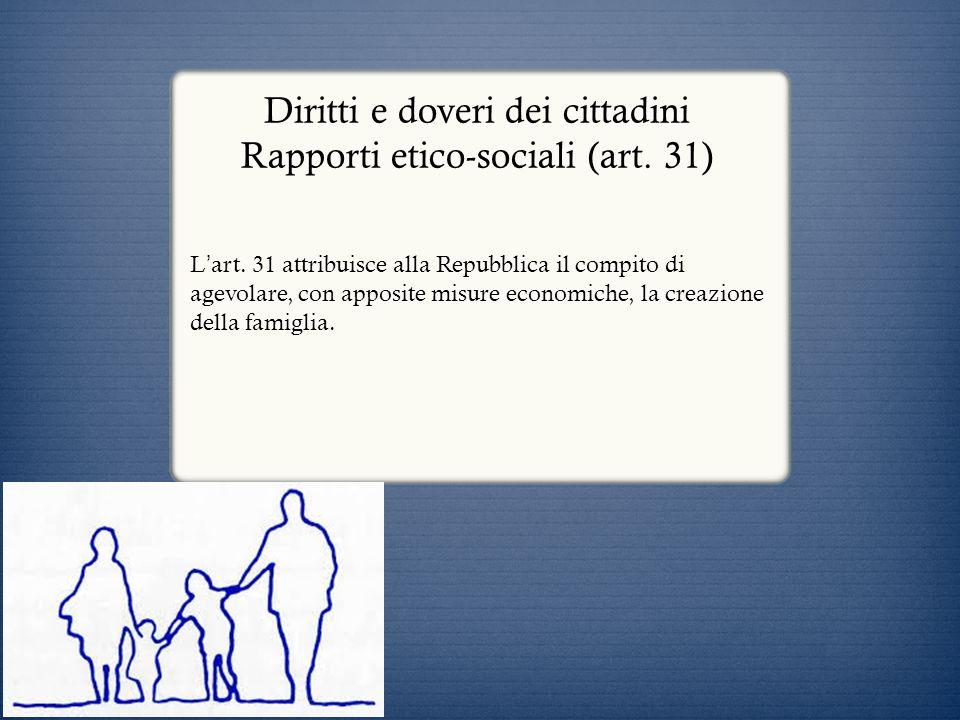 Diritti e doveri dei cittadini Rapporti etico-sociali (art. 31)