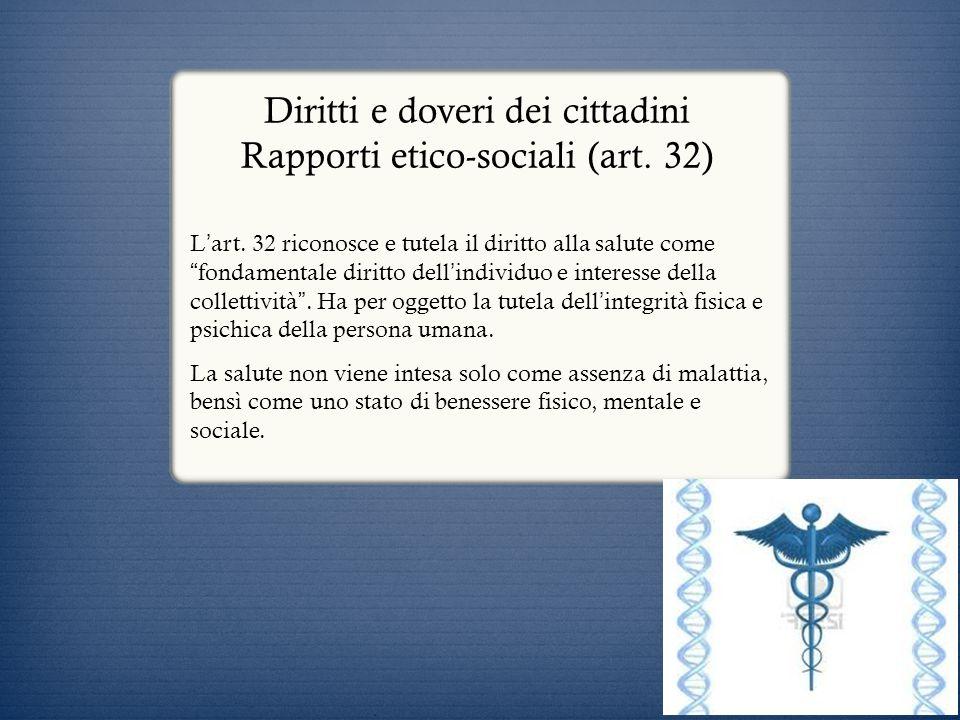 Diritti e doveri dei cittadini Rapporti etico-sociali (art. 32)