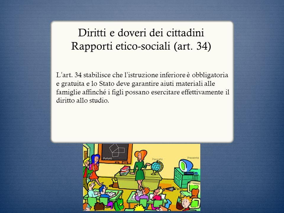 Diritti e doveri dei cittadini Rapporti etico-sociali (art. 34)