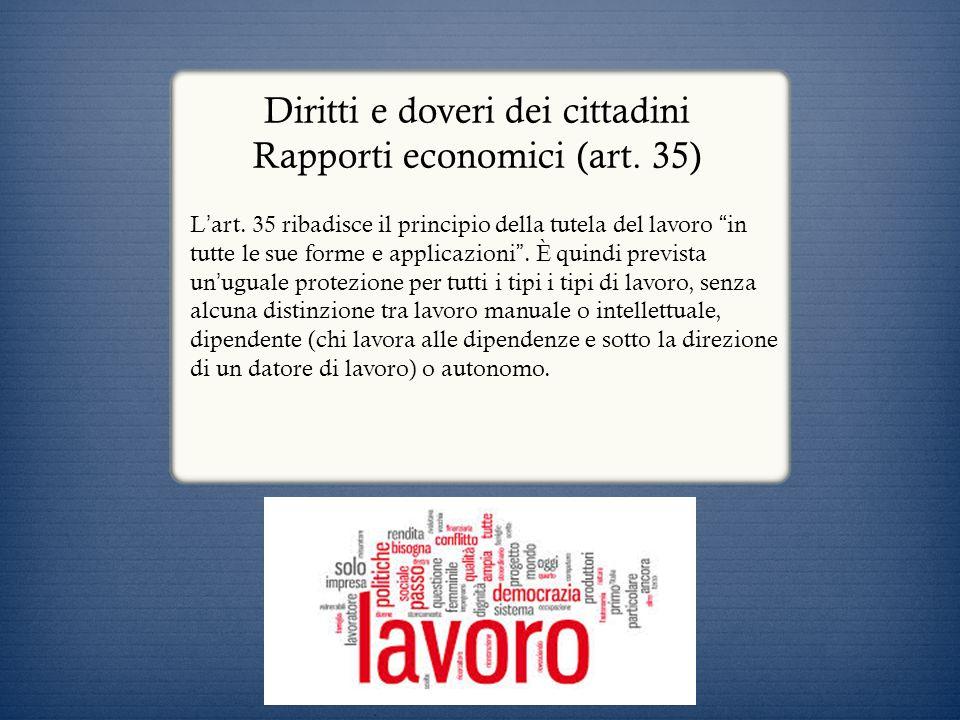 Diritti e doveri dei cittadini Rapporti economici (art. 35)