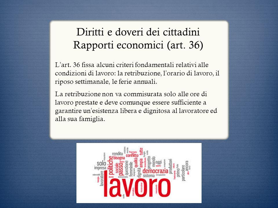 Diritti e doveri dei cittadini Rapporti economici (art. 36)