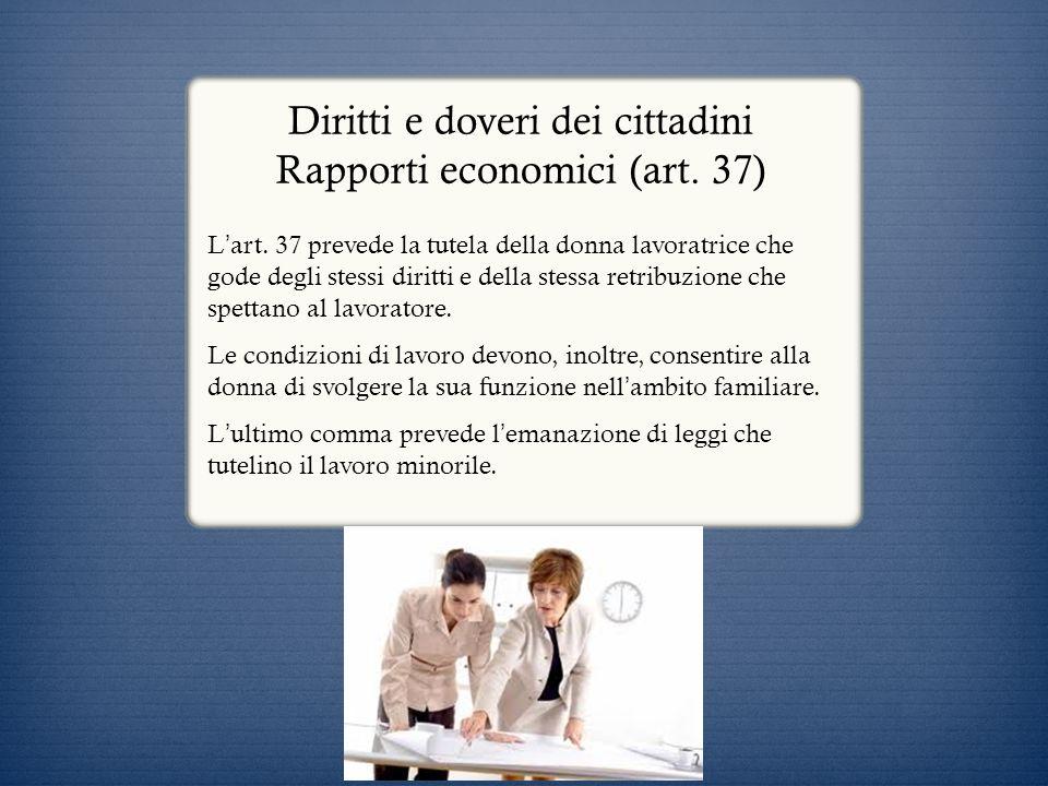 Diritti e doveri dei cittadini Rapporti economici (art. 37)