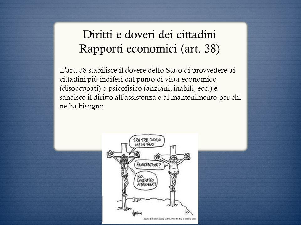 Diritti e doveri dei cittadini Rapporti economici (art. 38)