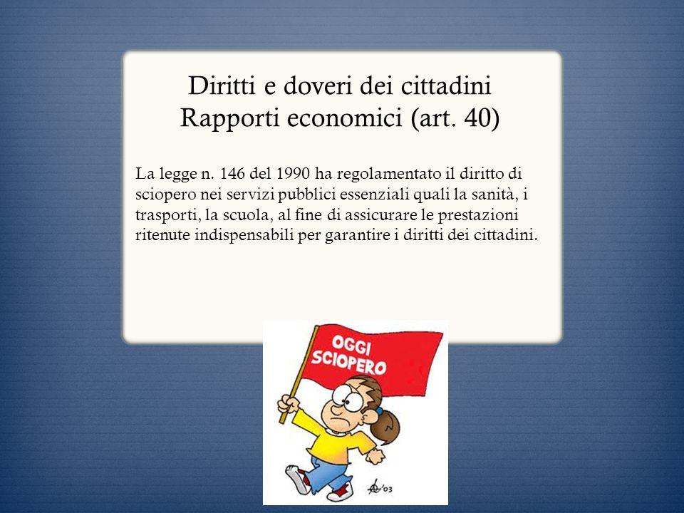 Diritti e doveri dei cittadini Rapporti economici (art. 40)