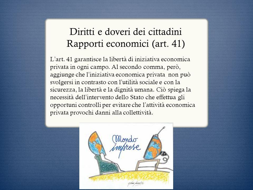 Diritti e doveri dei cittadini Rapporti economici (art. 41)