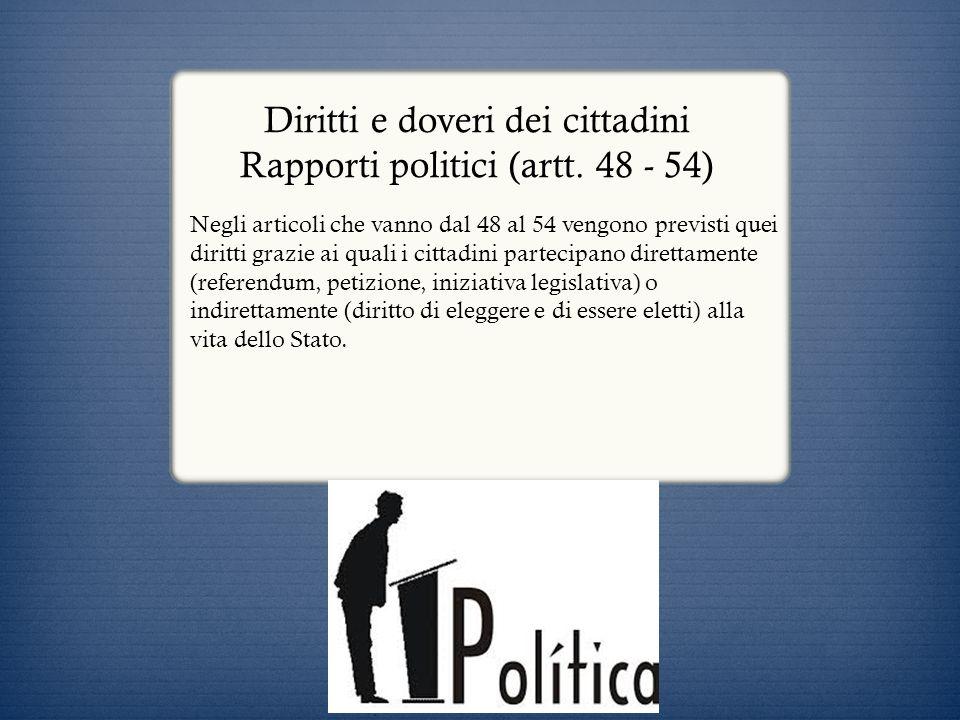 Diritti e doveri dei cittadini Rapporti politici (artt. 48 - 54)