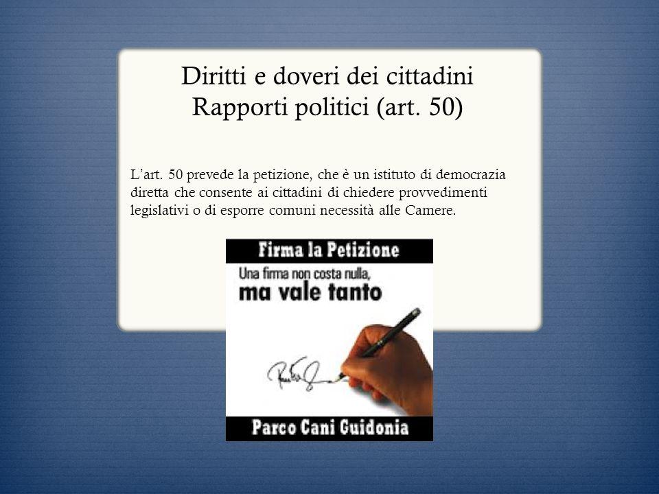 Diritti e doveri dei cittadini Rapporti politici (art. 50)