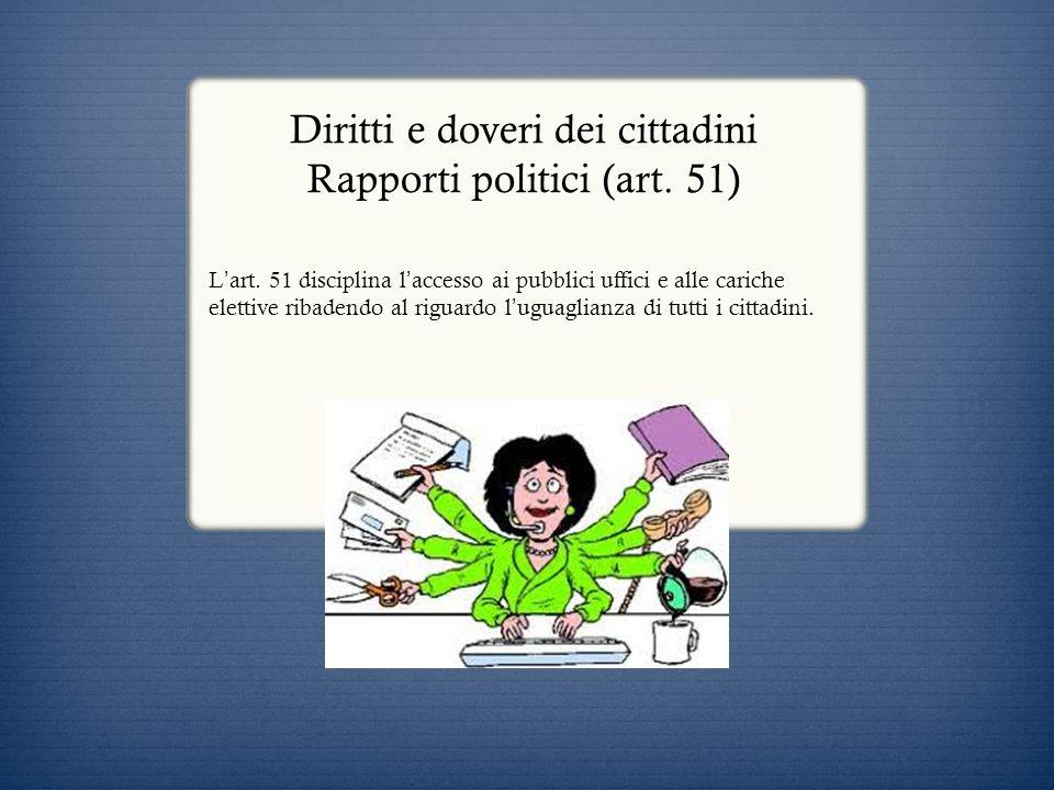 Diritti e doveri dei cittadini Rapporti politici (art. 51)