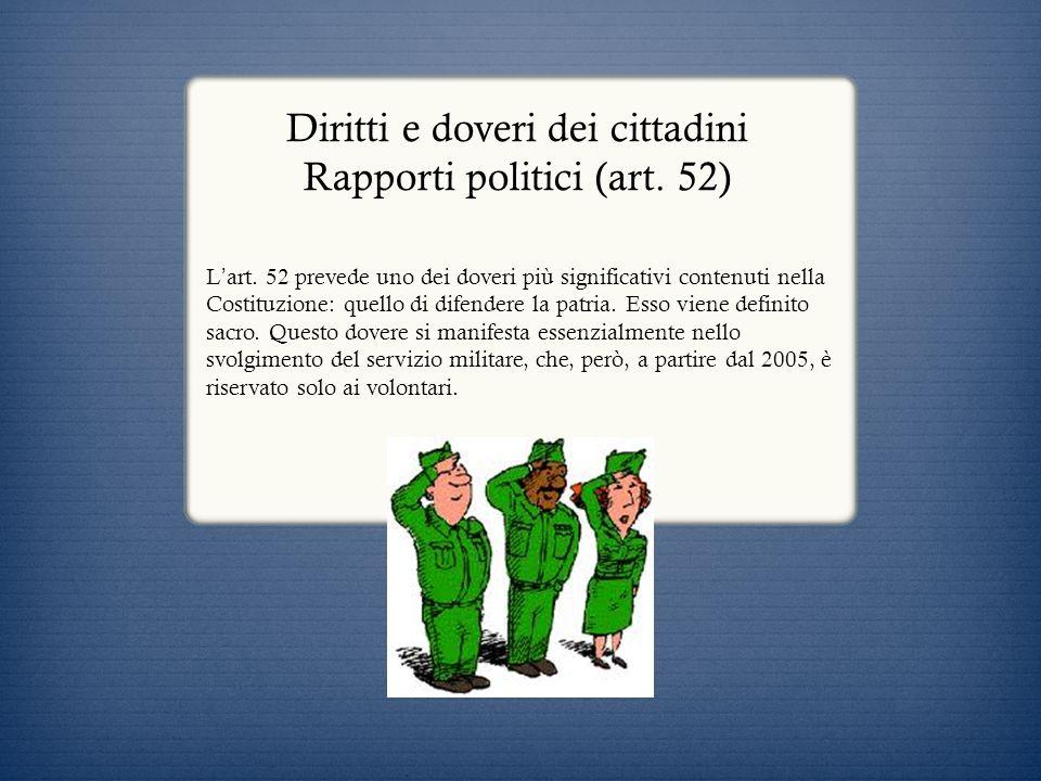 Diritti e doveri dei cittadini Rapporti politici (art. 52)