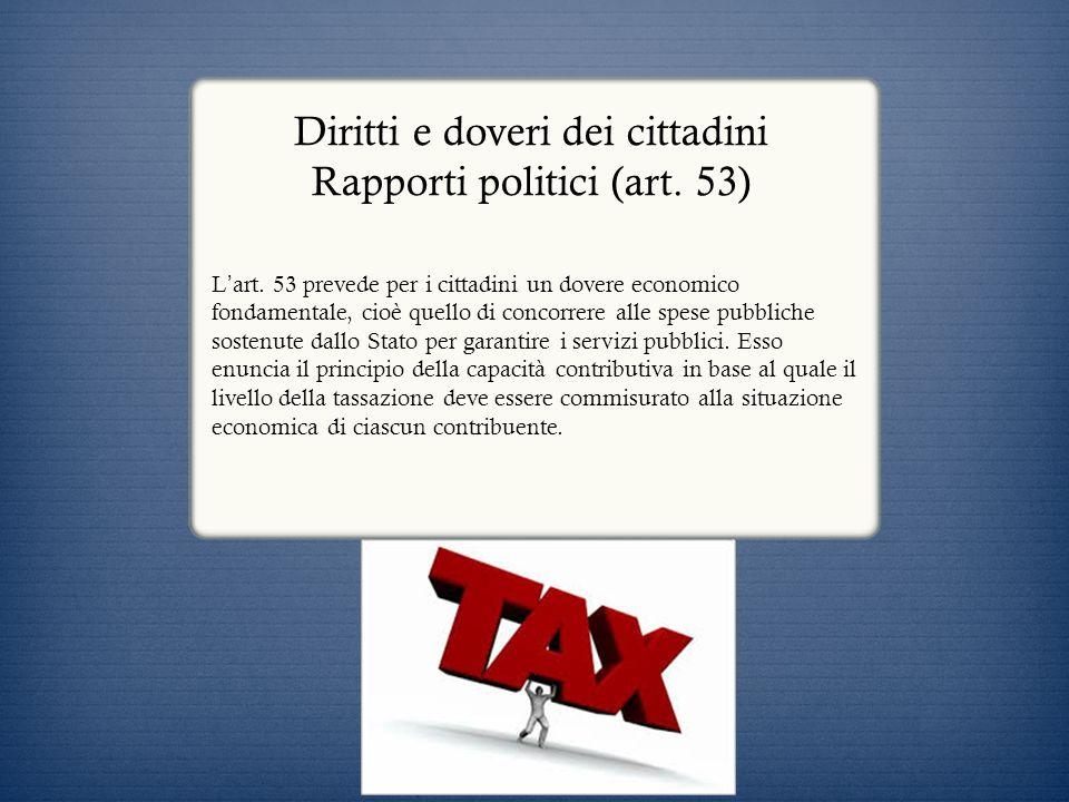 Diritti e doveri dei cittadini Rapporti politici (art. 53)