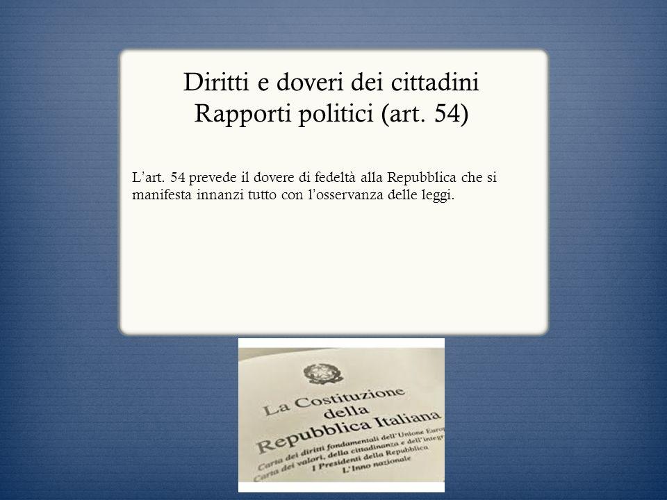 Diritti e doveri dei cittadini Rapporti politici (art. 54)