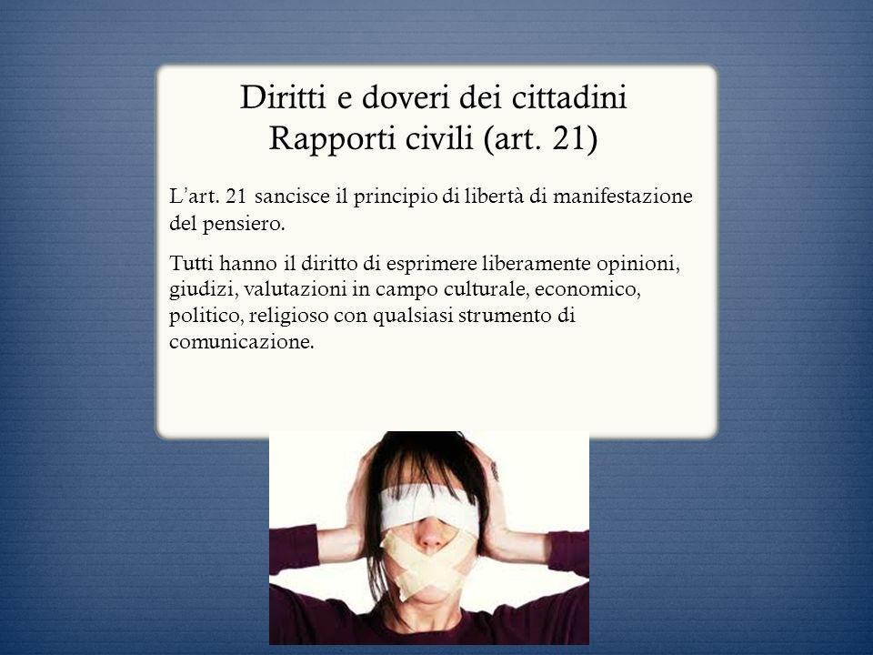 Diritti e doveri dei cittadini Rapporti civili (art. 21)