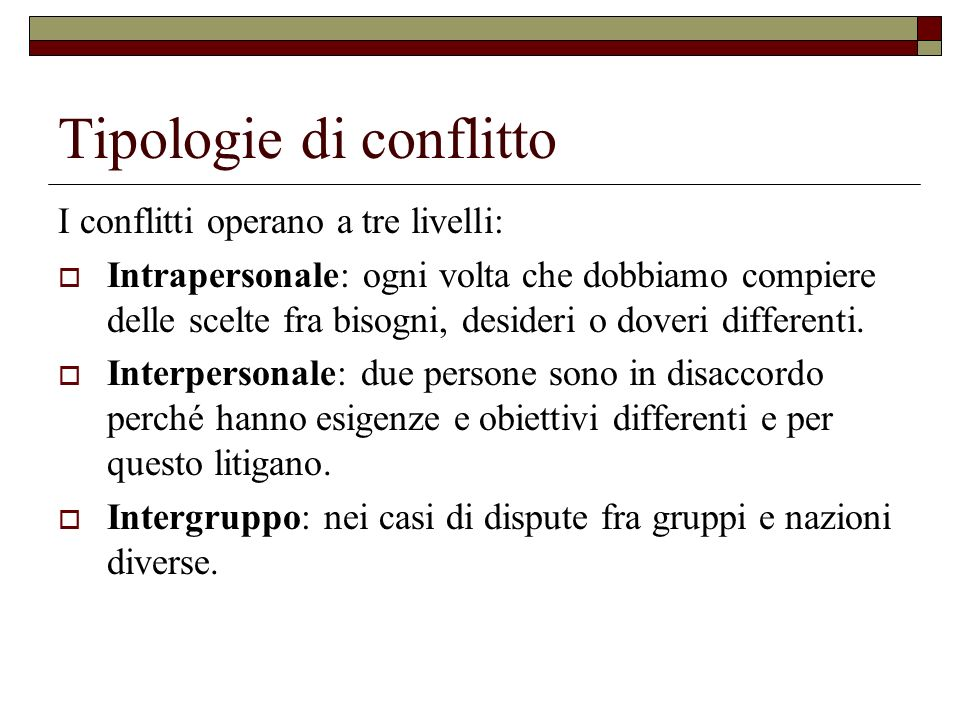 Tipologie di conflitto