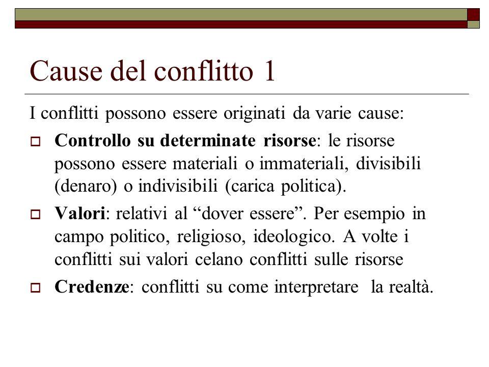 Cause del conflitto 1 I conflitti possono essere originati da varie cause: